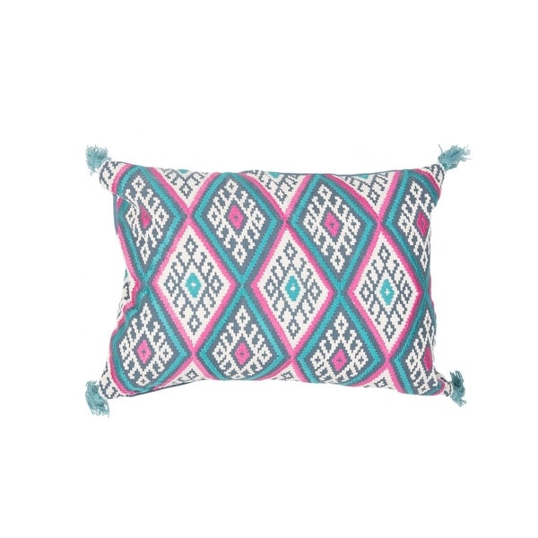 "20"" Sea Blue and Hot Pink Geometric Pattern Decorative Throw Pillow"