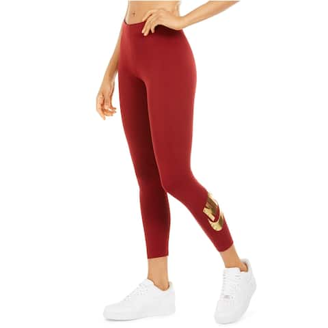 Nike Women's Sportswear Leg-A-See Metallic-Logo Leggings, Red, M