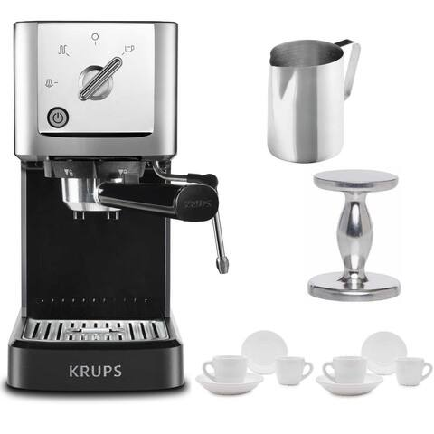 KRUPS XP344C51 Calvi Steam And Pump Espresso Machine (Black) Bundle