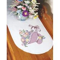 "Stamped Perle Edge Dresser Scarf 15""X42""-Flower Bonnet"