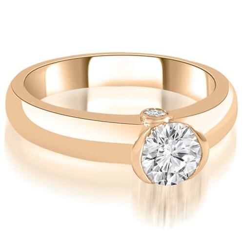 0.52 cttw. 14K Rose Gold Bezel Set Round Cut Diamond Engagement Ring