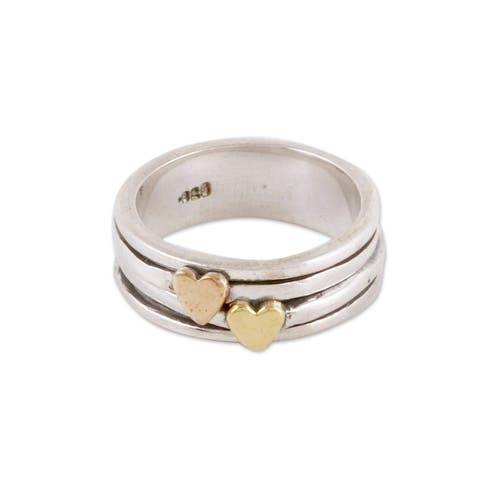 NOVICA Traveling Hearts, Sterling silver spinner ring