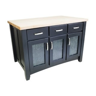 "Jeffrey Alexander ISL07 Contemporary Collection 54 x 34"" Kitchen Storage Island - Black - N/A"