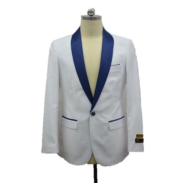Men's Two Toned White -NavyBlue Tuxedo Dinner Jacket And Blazer By Alberto Nardoni Brand designer. Opens flyout.