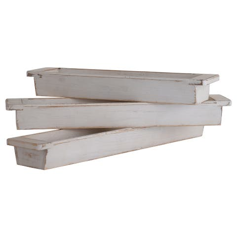 The Gray Barn Collection of White Wash Wood Trays with Handles (Set of 3)