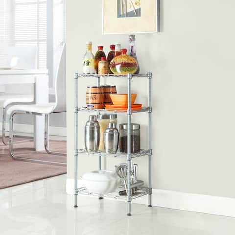 4 Tier Corner Shelves Wire Shelving Rack Shelf Adjustable Storage Unit Organizer