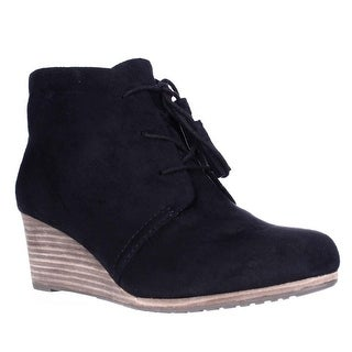 Dr. Scholl's Dakota Wedge Lace Up Ankle Booties - Black