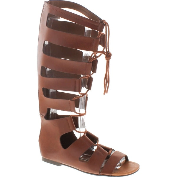 Soda Women's Reanna Open Toe Lace Up Gladiator Knee High Flat Sandal