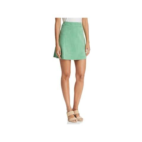 Theory Womens Tilde Mini Skirt Lamb Leather High Waist