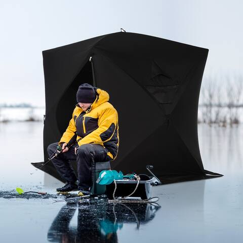 Outsunny 4 Person Waterproof Insulated Portable Pop-Up Ice Fishing Shelter with 2 Doors