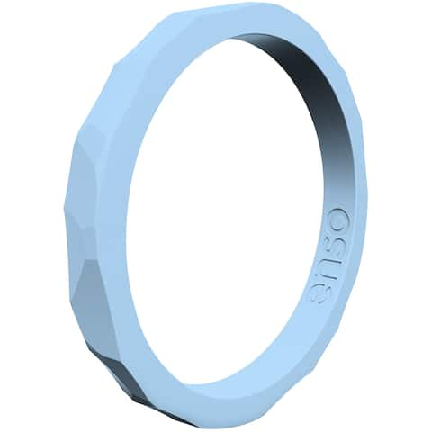 Enso Rings Hammered Stackables Series Silicone Ring - Carolina Blue