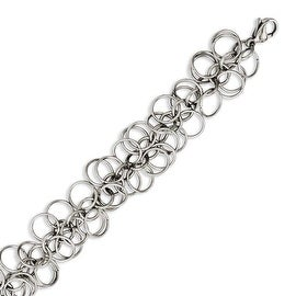 Chisel Stainless Steel Polished Circles 7.75in Bracelet