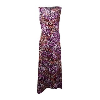 NY Collection Women's Animal Print High Low Dress - grape icecat