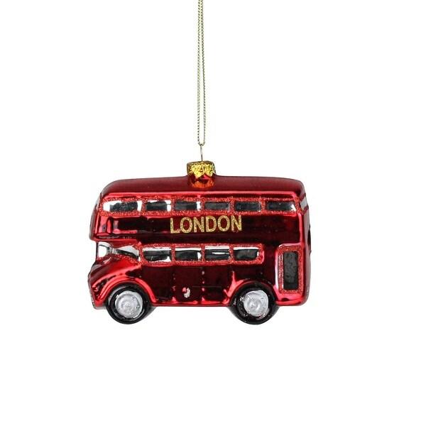 "4.25'' Red Double Decker ""London"" Tour Bus Christmas Glass Ornament"
