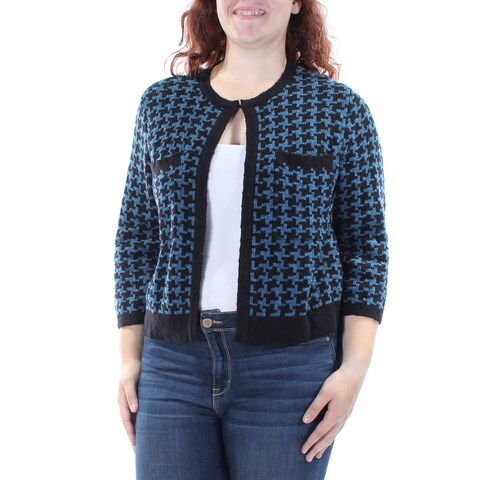 ANNE KLEIN $99 Womens New 1066 Blue Geometric Neck Closure Sweater XL B+B
