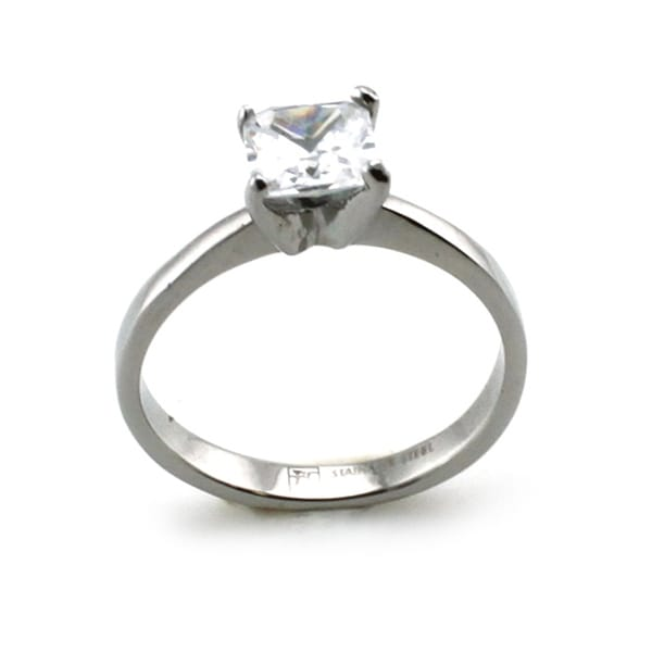 Stainless Steel Solitaire Princess Cut CZ Ring