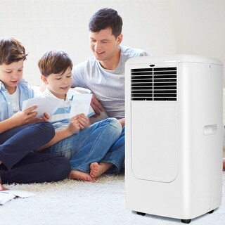 Costway Portable 10000BTU Air Conditioner Cooling Dehumidify Timer Remote w/ Window Kit - White