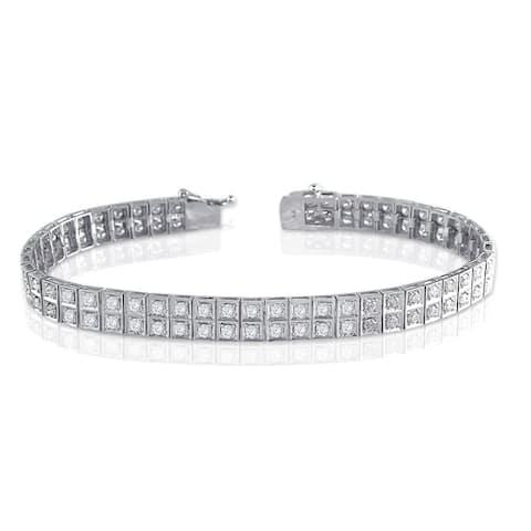 Auriya Unique 4ctw Diamond Bracelet 14k White Gold - 7-inch