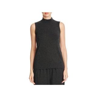 Eileen Fisher Womens Petites Tank Top Knit Mock Neck - pm