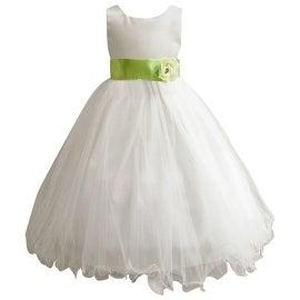 Wedding Easter Flower Girl Dress Wallao Ivory Rattail Satin Tulle (Baby - 14) Green Apple