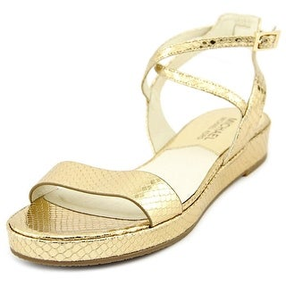 Michael Michael Kors Kaylee Flat Women Open-Toe Leather Gold Slingback Sandal