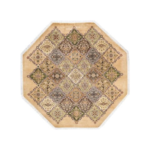 """Mogul, One-of-a-Kind Hand-Knotted Area Rug - Yellow, 6' 1"""" x 6' 1"""" - 6' 1"""" x 6' 1"""""""