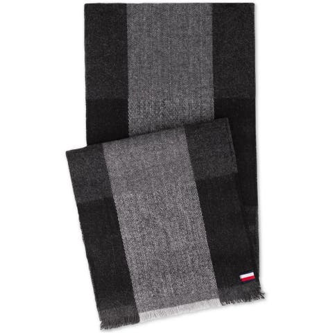 Tommy Hilfiger Mens Buffalo Plaid Scarf, black, One Size - One Size