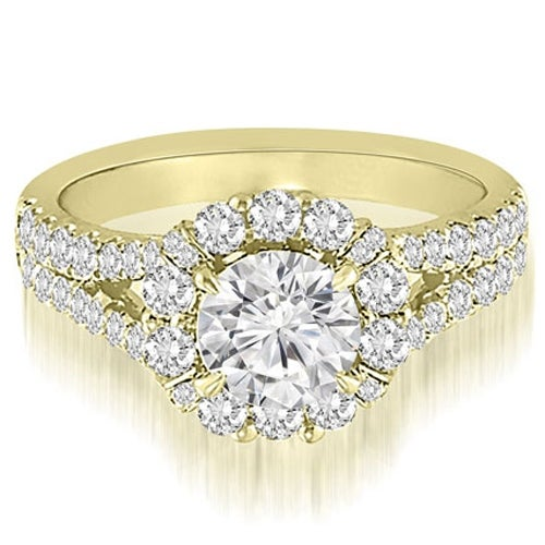 1.45 cttw. 14K Yellow Gold Halo Split-Shank Diamond Engagement Ring