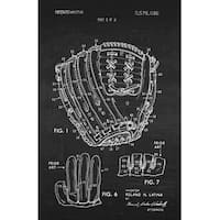 Baseball Glove Patent Poster (White on Chalkboard)-Sports Patents-24x16 Poster