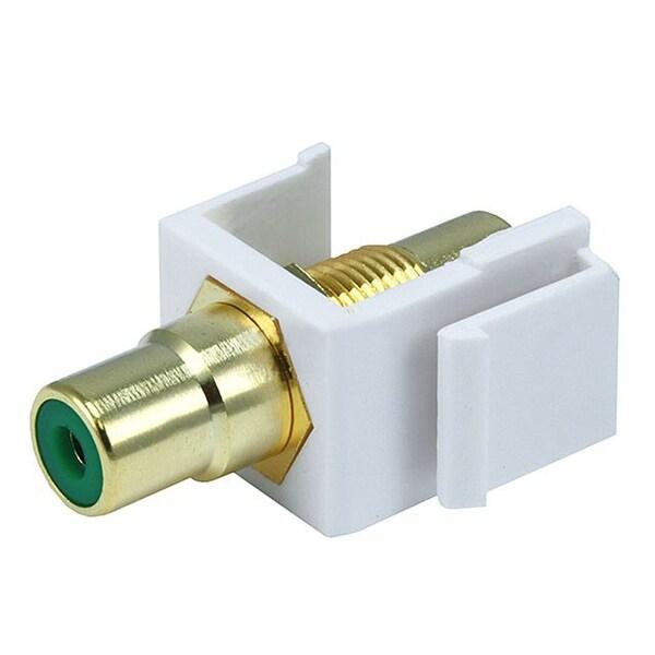 Monoprice Modular RCA Coupler Keystone Jack w/Green Center - White