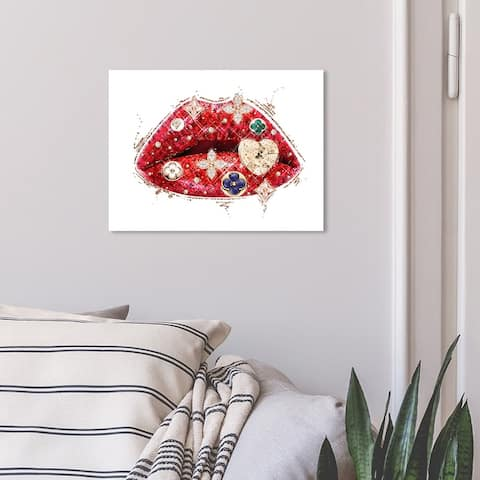 Oliver Gal 'Louis Lips and Gems' Fashion and Glam Wall Art Canvas Print Lips - Red, Gold