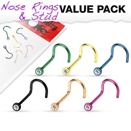 6 Pcs Value Pack of Assorted Press Fit Clear Gem Titanium IP 316L Surgical Steel Nose Screw