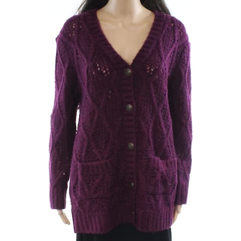 WAYF Deep Purple Womens Size Small S Cable-Knit Cardigan Sweater