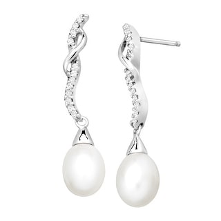 Freshwater Pearl and 1/8 ct Diamond Drop Earrings in 10K White Gold