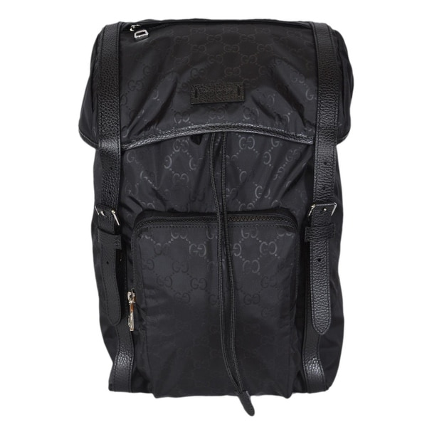 b1e90ebb327 Gucci 510336 Large Black Nylon GG Guccissima Backpack Rucksack Travel Bag
