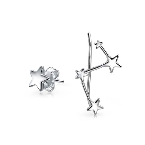 Celestial Star Stud Constellation Ear Climber Crawler Stud Earrings For Women For Teen 925 Sterling Silver