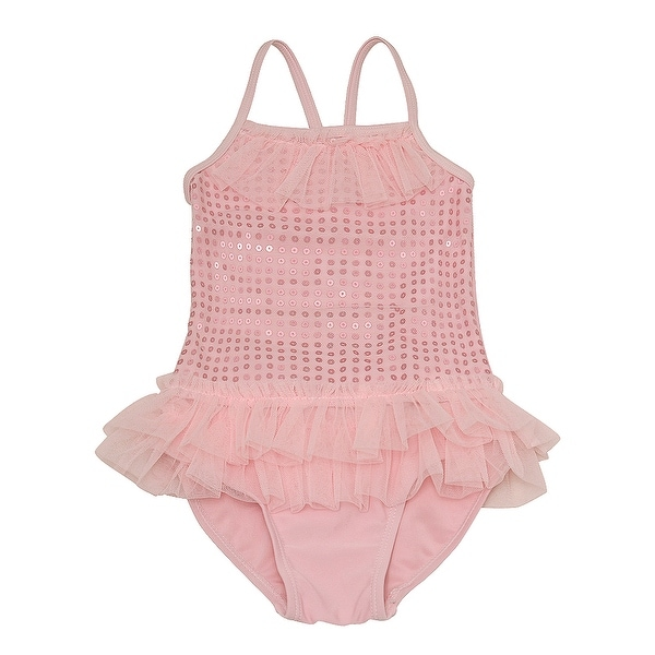 Solo International Baby Girls Pink Sequin Tulle Ruffles One Piece Swimsuit 24M