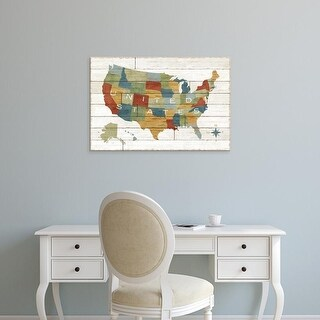 Easy Art Prints Sue Schlabach's 'Barnboard Map' Premium Canvas Art