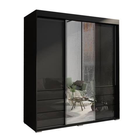 Monaco 3 Door Modern 71 inch  Wardrobe with Mirror