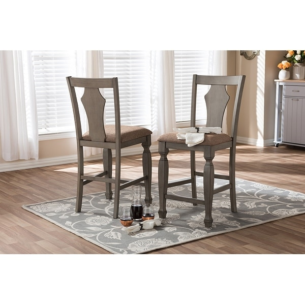 Arianna Shabby Chic Country Cottage Weathered Grey Counter Stool 2 Chairs