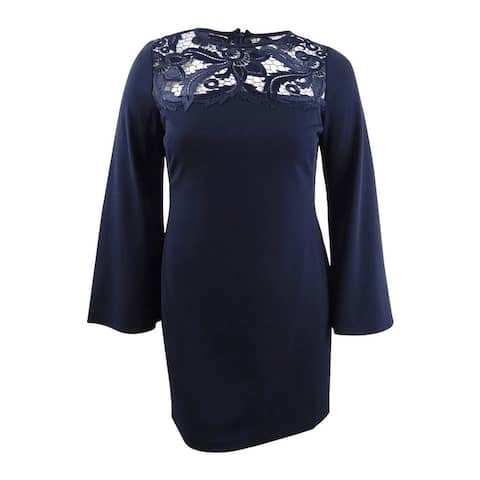 Lauren by Ralph Lauren Women's Petite Lace-Yoke Dress (12P, Navy) - Navy - 12P
