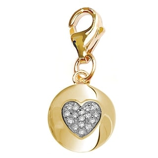 Julieta Jewelry Heart Disc CZ Clip-On Charm