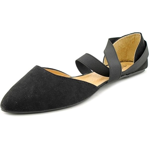 Charles Albert Criss Cross Women Pointed Toe Synthetic Black Flats