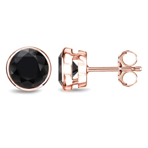 Auriya 1/2 to 4ctw Round Black Diamond Stud Earrings 14k Rose Gold Bezel-set