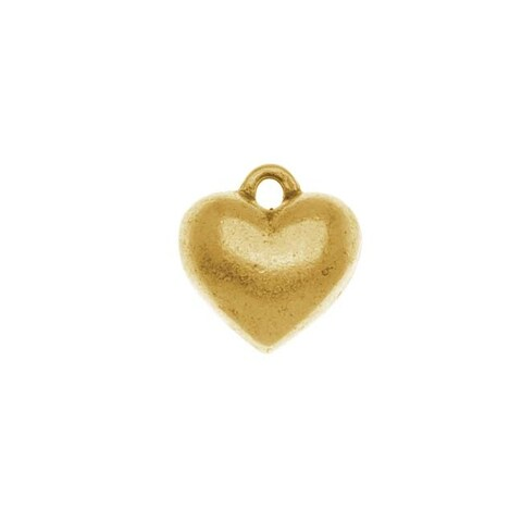 Nunn Design Antiqued Gold Plated Pewter Puff Heart Pendant 12mm