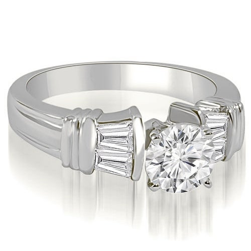 0.80 cttw. 14K White Gold Antique Style Round Baguette Diamond Engagement Ring