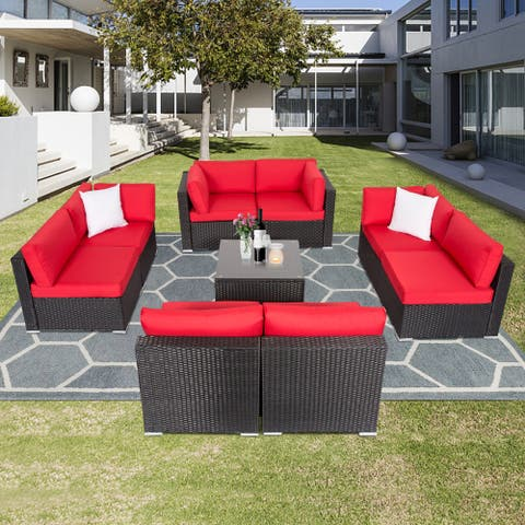 Kinbor 9-piece Outdoor Furniture Patio Sectional Sofa All-weather Rattan Wicker Chat Set w/Cushions Patio Indoor