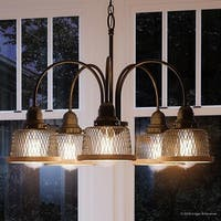 "Luxury Vintage Chandelier, 16.25""H x 24""W, with Industrial Chic Style, Olde Bronze Finish by Urban Ambiance"