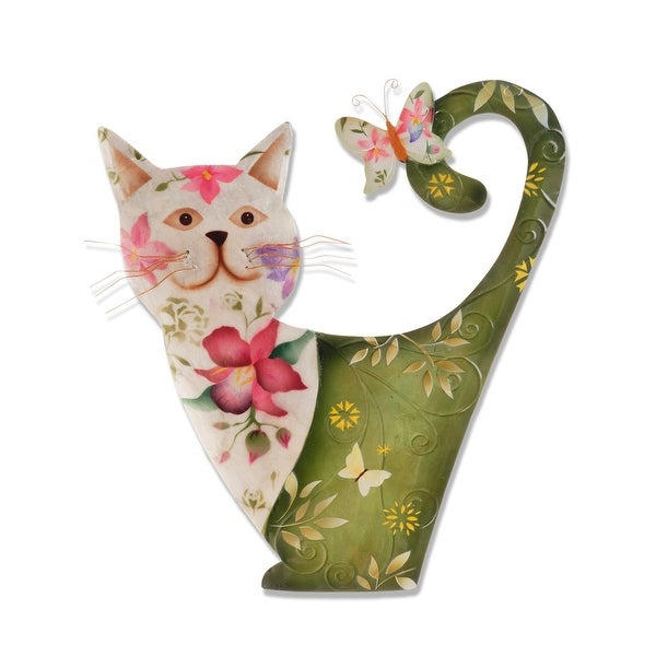 Handmade White and Green Cat (Philippines) - 19 x 14 x 5. Opens flyout.