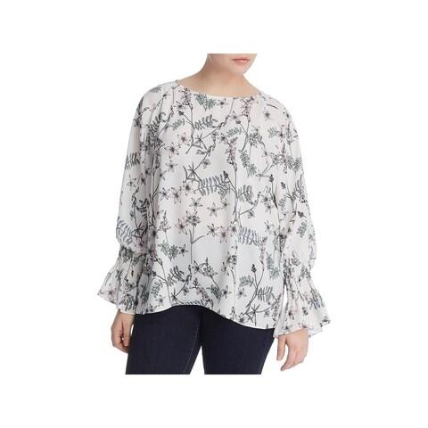 Vince Camuto Womens Plus Blouse Floral Print Cold Shoulder